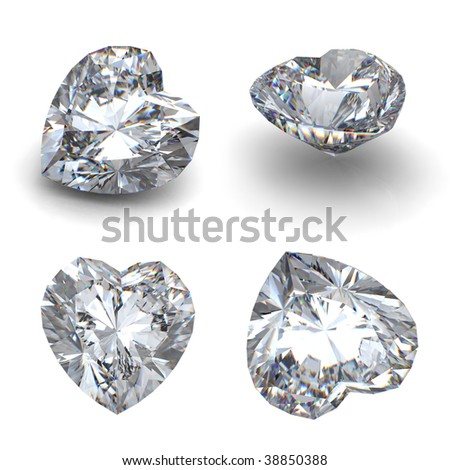3D heart shaped diamond  perspective isolated on a white background - stock photo
