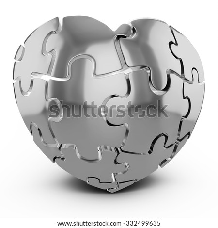3d Heart-Shaped Jigsaw Puzzle on white background