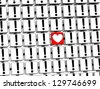 3D Heart Sign inside exclamation marks blocks - stock photo