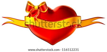 3D heart with bow and golden ribbon on a white background - stock photo