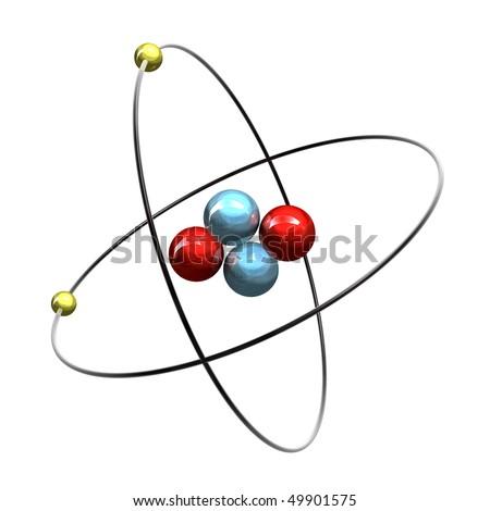 3d Helium Atom - stock photo