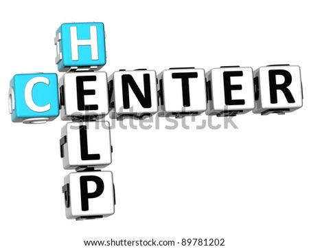 3D Help Center Crossword on white background