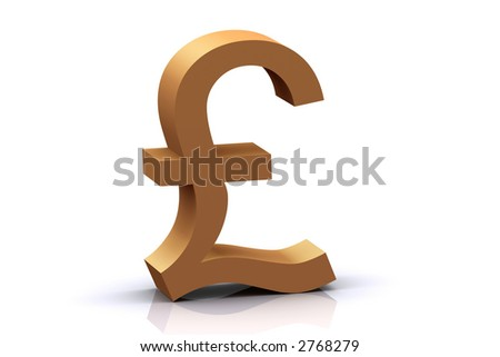 3d High Resolution Rendered Gold Pound - stock photo