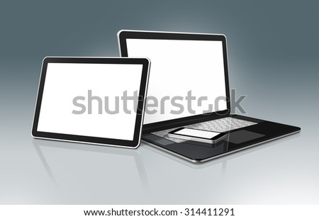3D High Tech laptop, mobile phone and digital tablet - isolated on a grey background with clipping path - stock photo