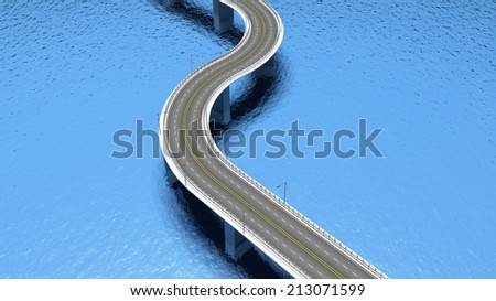 3D highway road over blue water - stock photo