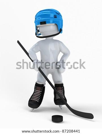 3d hockey man. - stock photo