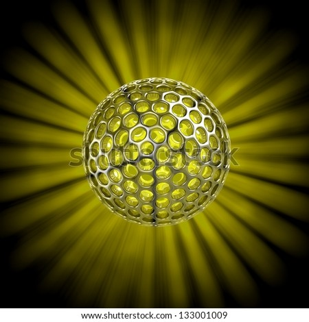 3D hollow ball isolated with glow rays - stock photo