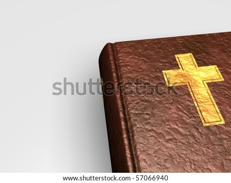 3D Holy bible with golden cross on book from leather on white background - stock photo