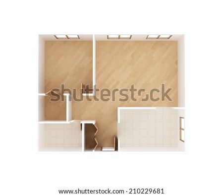3D home floor plan - stock photo