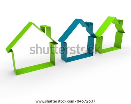3d home house blue green estate business - stock photo