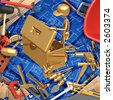 3D Home Improvement Construction Concept Finding The Right Tool In A Toolbox - stock photo