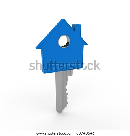 3d home key blue house metal security - stock photo