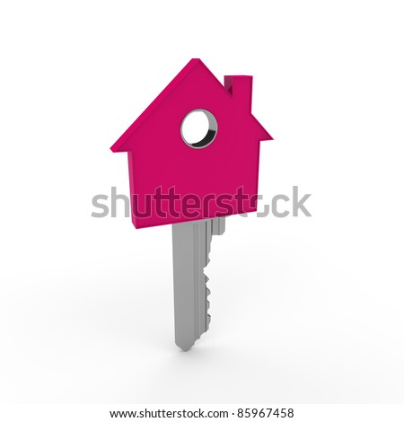 3d home key pink house metal security - stock photo