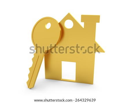 3d Home with Key - stock photo