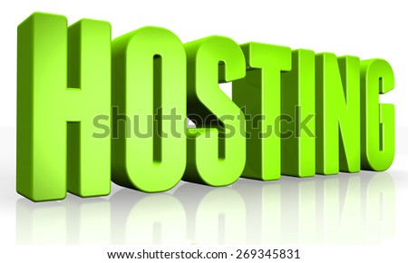3D hosting text on white background - stock photo