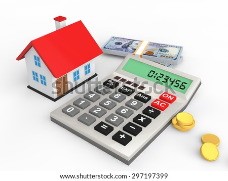 3d house budget concept - stock photo