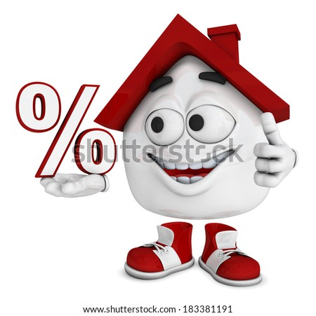 3d House character concept - percent - stock photo