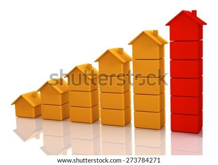 3D. House, Chart, Sale. - stock photo