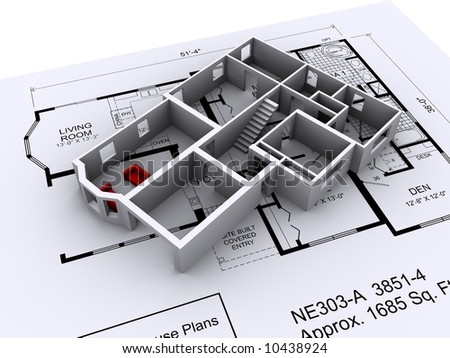 3D House design on a set of architectural plans.