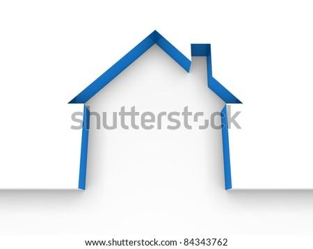 3d house estate blue model home white - stock photo