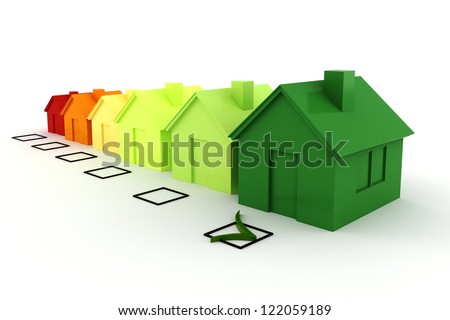 3d house green energy concept - stock photo