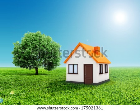3d house, green grass and clear blue sky - stock photo