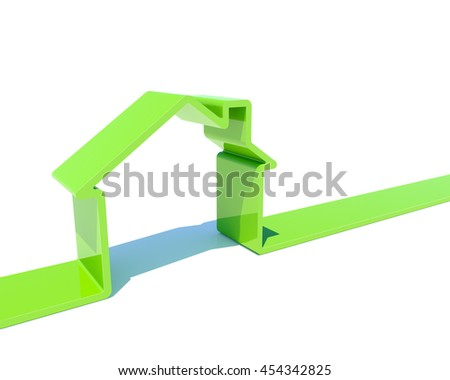 3D house green shape isolated on white background image. 3D rendering of real estate concept. - stock photo