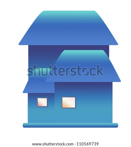 3d house icon on white background - stock photo