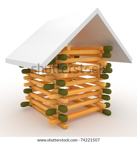 3d house if matches with roof isolated on white - stock photo
