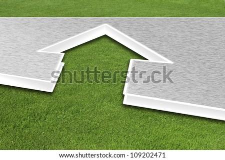 3d house illustration on green grass - stock photo
