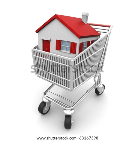3D house in a shopping cart isolated on white - stock photo