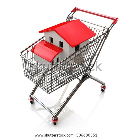 3D house in a shopping cart isolated on white in the design of the information related to the purchase of Real Estate. 3d illustration