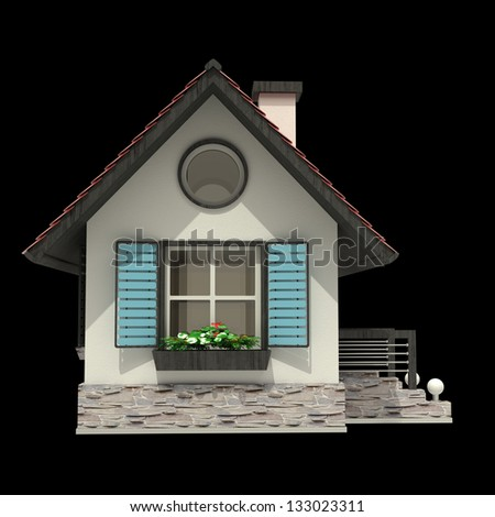 3d house isolated on black background High resolution - stock photo
