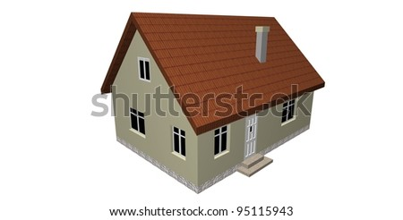 3D house isolated on white background - stock photo