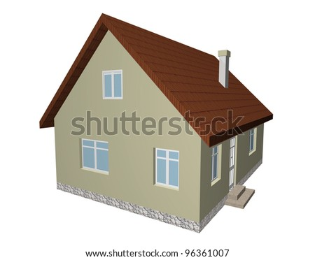 3D house isolated on white background 2 - stock photo