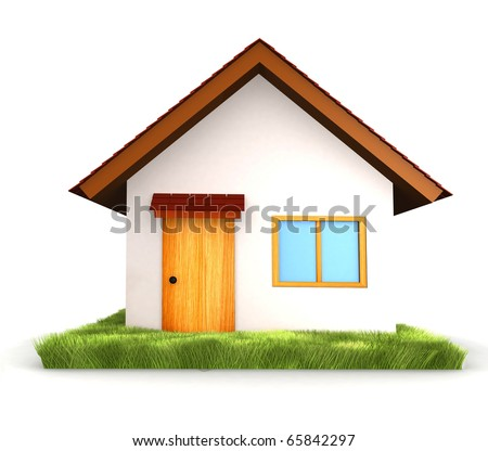 3D House isolated over a white background - stock photo