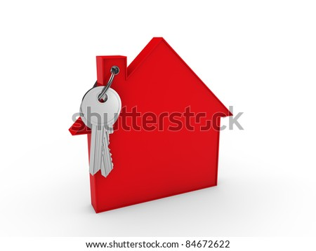 3d house key red home estate security - stock photo