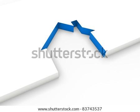 3d house line blue white home estate - stock photo