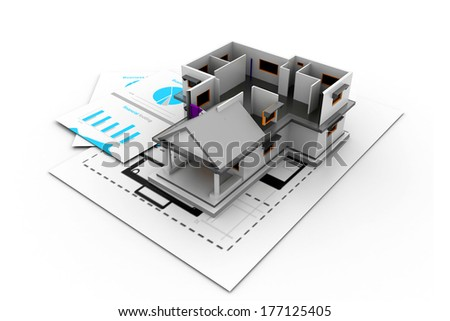 3d House model on a plan - stock photo