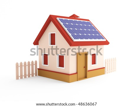 3d house on a white background - stock photo