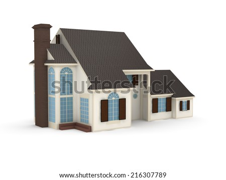 3d house on white background.