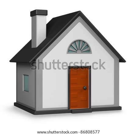 3D house on white background. 3d render. - stock photo