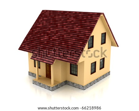 3d house over white background. Computer generated image - stock photo