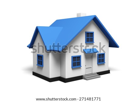 3D. House, Residential Structure, Three-dimensional Shape. - stock photo