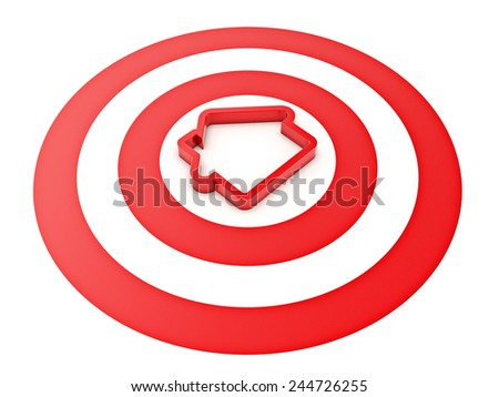 3d house shape icon with Target - stock photo