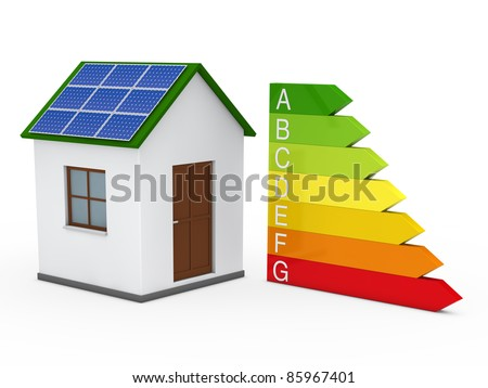 3d house solar energy bar red green