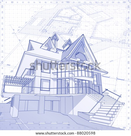 3d house: vector technical draw. Bitmap copy my vector ID 14378014 - stock photo