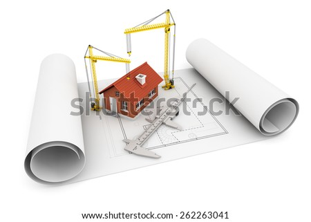 3d house with caliper and Hoisting Crane over architect blueprint on a white background - stock photo