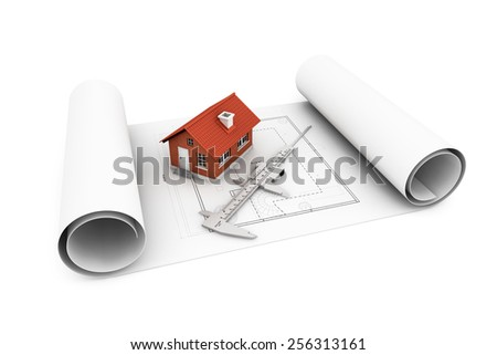 3d house with caliper over architect blueprints on a white background - stock photo