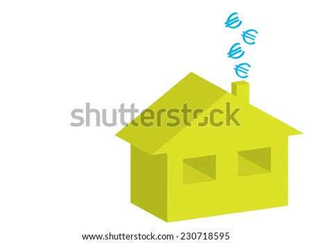 3D house with euro symbols on chimney as energy efficiency concept